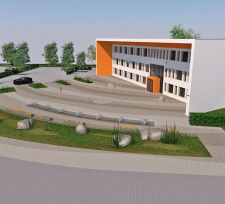 3D-Grafik des Firmengebäudes mit Gestaltung der Außenanlagen nach geomantischen Aspekten durch das Architekturbüro atelier8 in Frankfurt