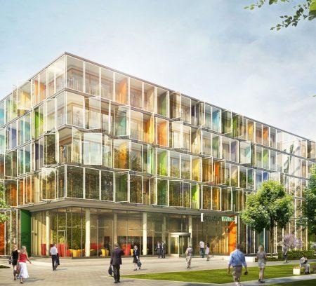 Außenansicht des Apartmenthauses studiomuc mit lebendiger Fassadengestaltung vom Architekturbüro atelier8 in Frankfurt